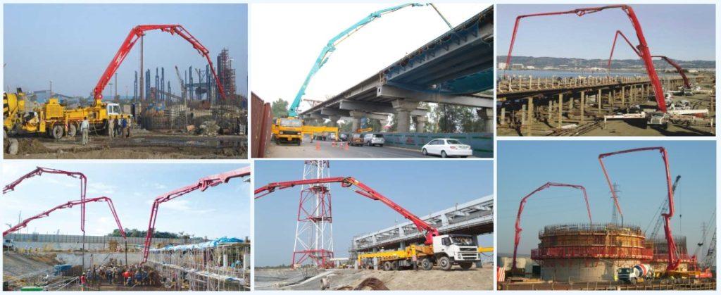 Ang aimix boom pump ay gumagana sa iba't ibang mga site ng konstruksiyon