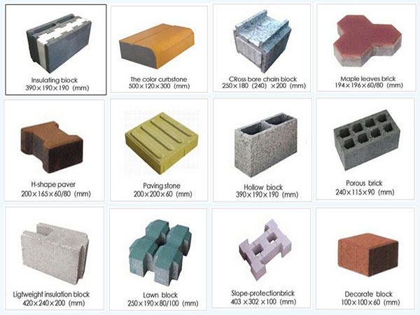 kinds of finished bricks