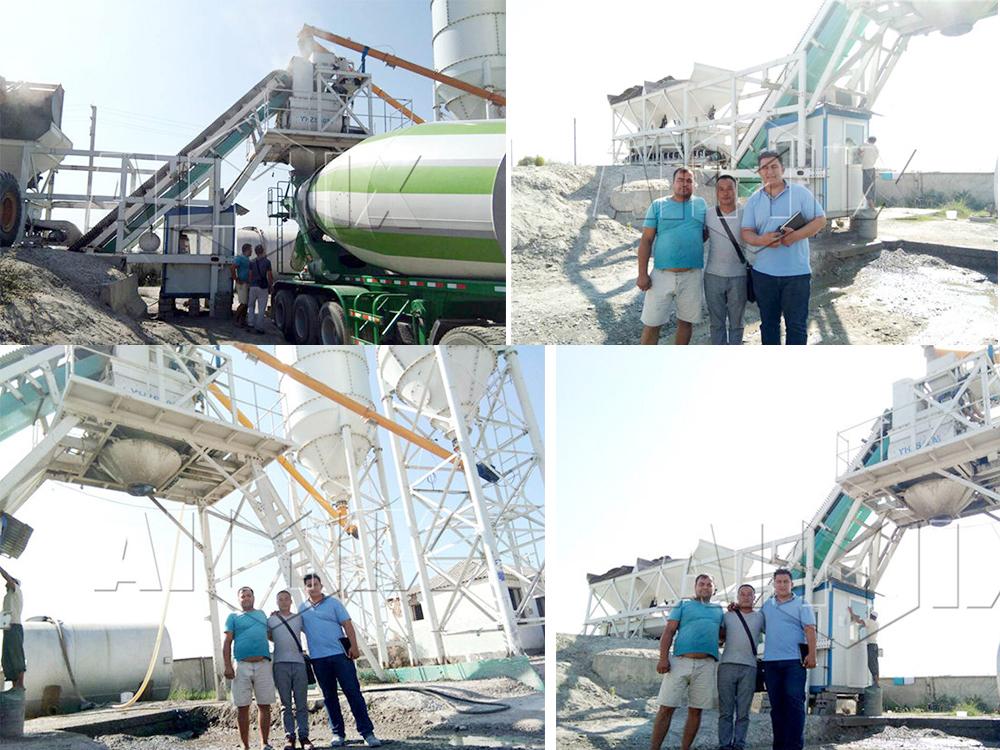 AJY-35 mobile concrete-batching-plant-in-Uzbekistan