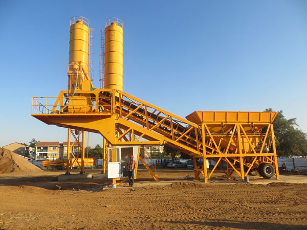 YHZS35 mobile ready mix concrete plant
