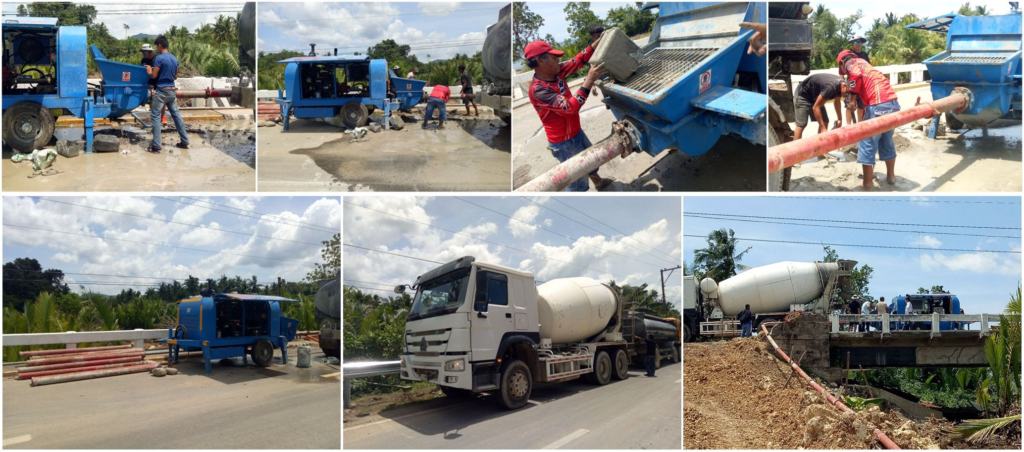 concrete trailer pump works in construction site