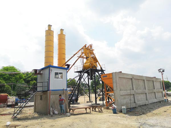 HZS35 cement batching mixing plant