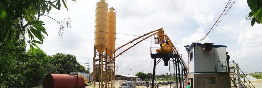 HZS35 concrete plant in construction site