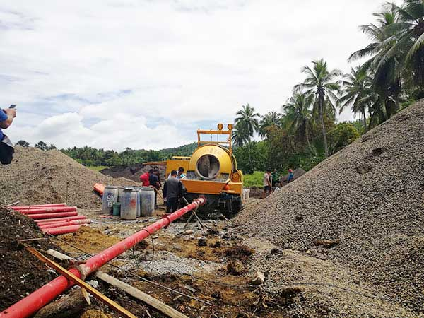 application of line pump for road project