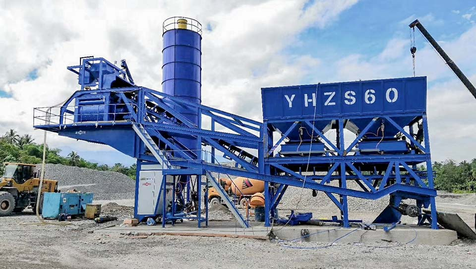 AJY60 mobile batching plant successfully installed in the Philippines