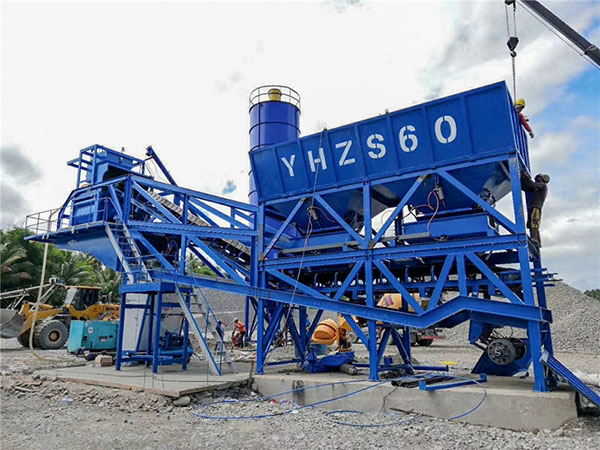AJY60 mobile concrete batching plant in Philippines