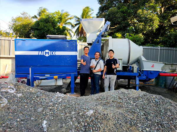 40 Diesel Concrete Mixer Pump Started Working In Davao, Philippines