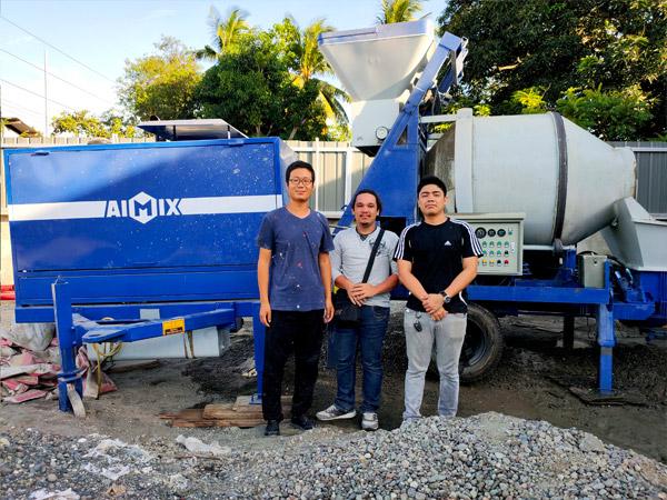 40 Diesel Concrete Mixer Pump Started Working In Davao, Philippines