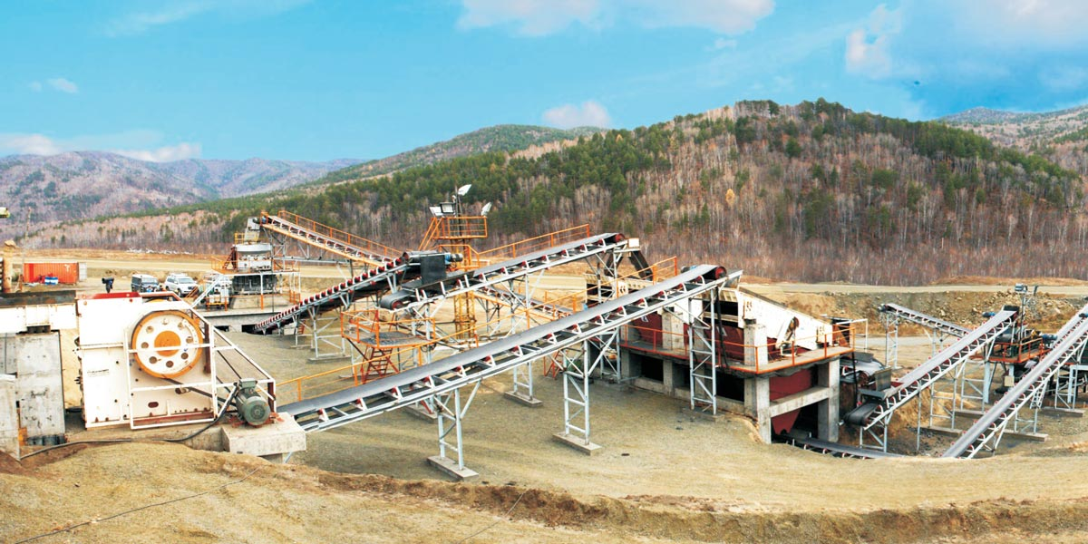 A complete crushing mining production line at construction site