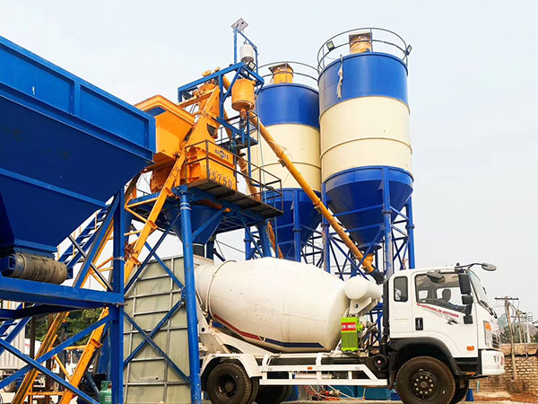 AJ-35 Batching Plant, 5.0cub Mixer Truck, ABT40C Trailer Pump and 1.2cub Wheel Loader Working in Myanmar