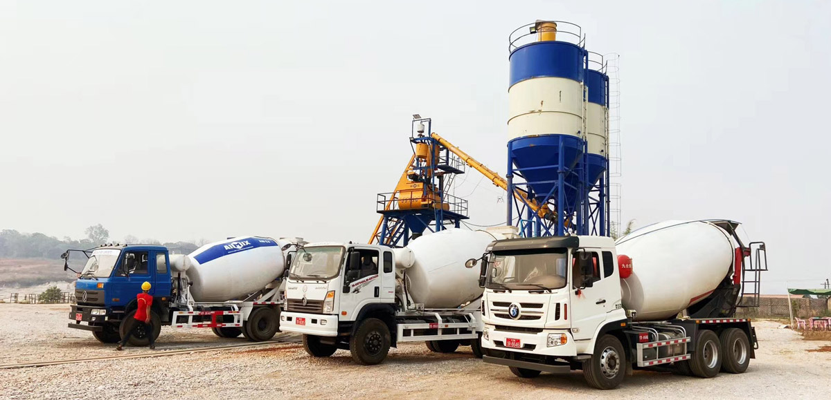 AJ-35 Batching Plant, 5.0cub Mixer Truck, ABT-40C Trailer Pump and 1.2cub Wheel Loader Working in Myanmar