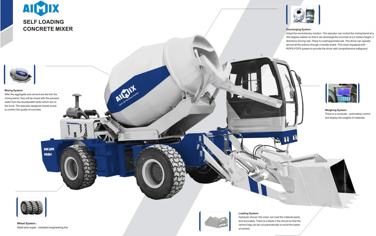 Components of self loading concrete mixer