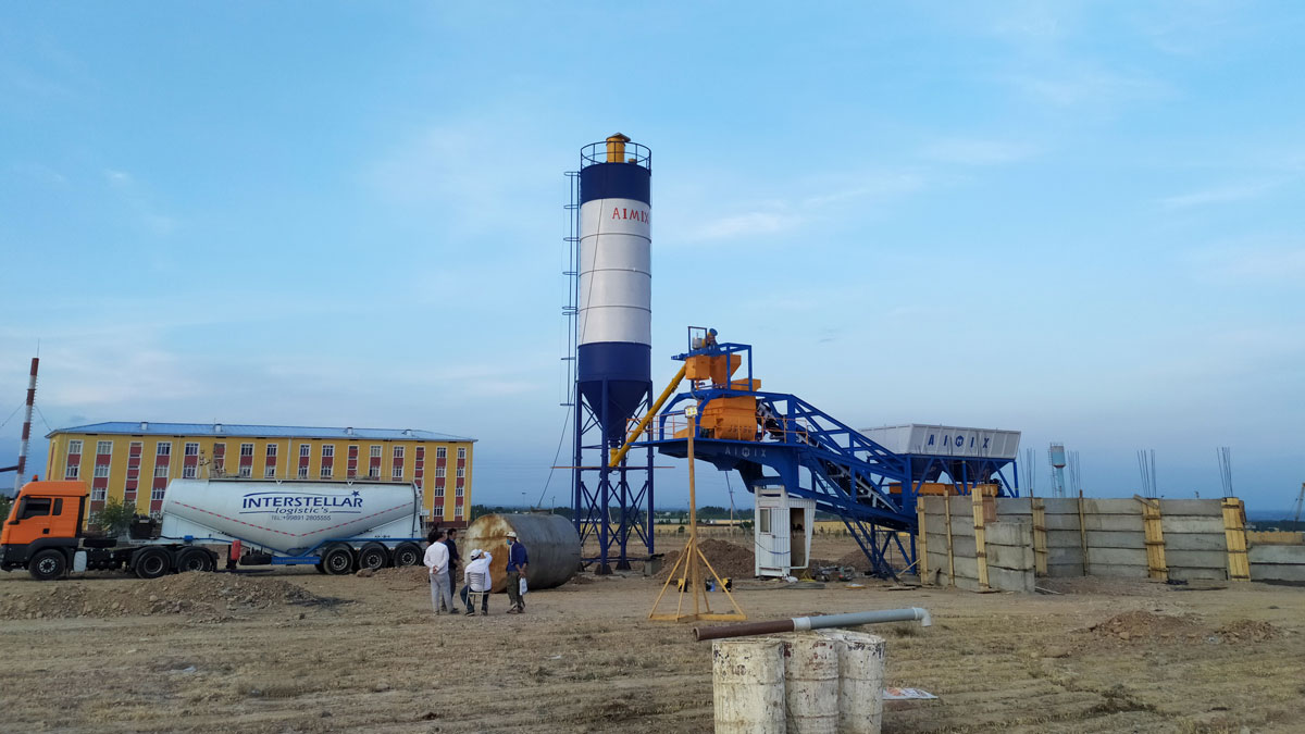 AJY-35 Mobile batching plant used to build isolation hospital in Uzbekistan in May 2020