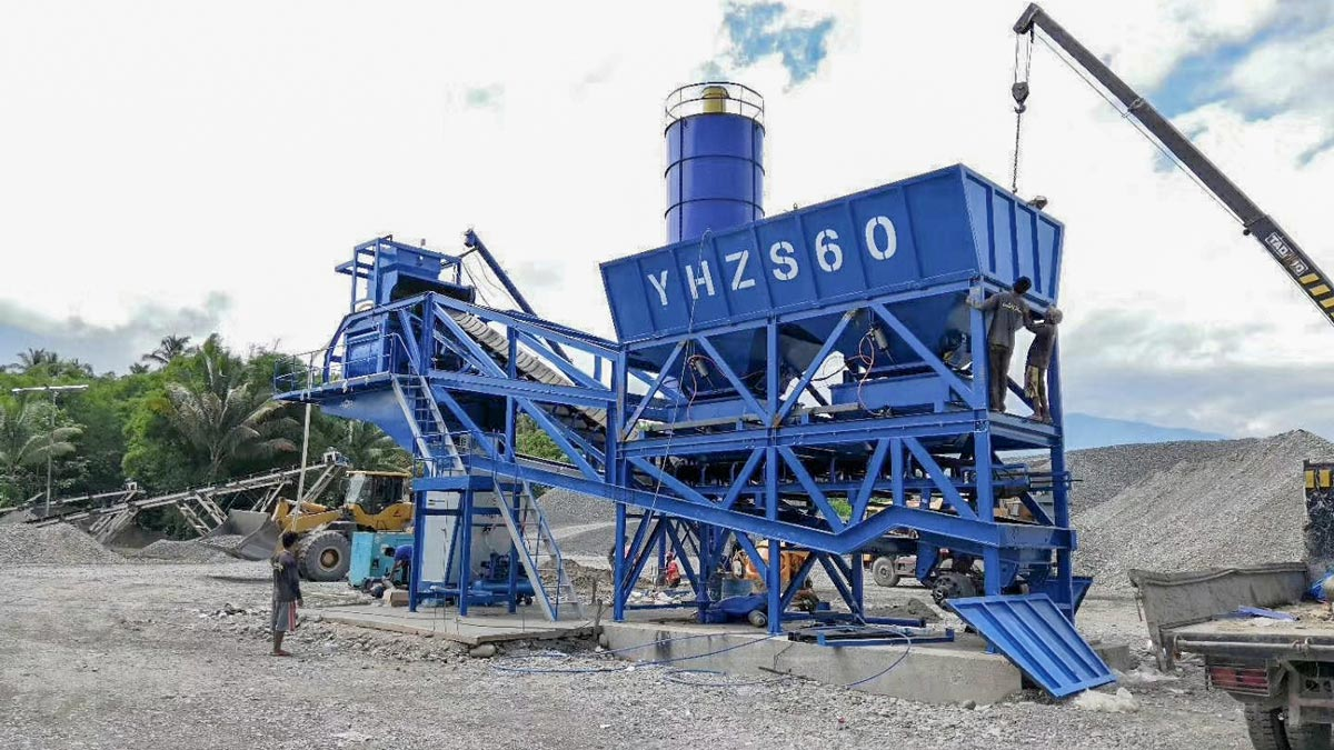 AJY-60 mobile type batching plant in Davao, Philippines