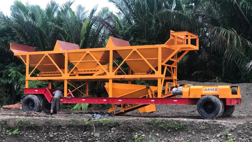 AJY35 Mobile batching plant in Ambon, Indonesia