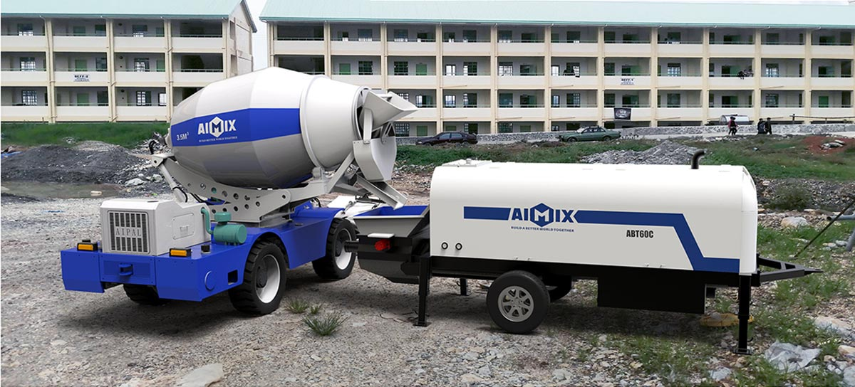 Self-loading mixer matched with our trailer concrete pump
