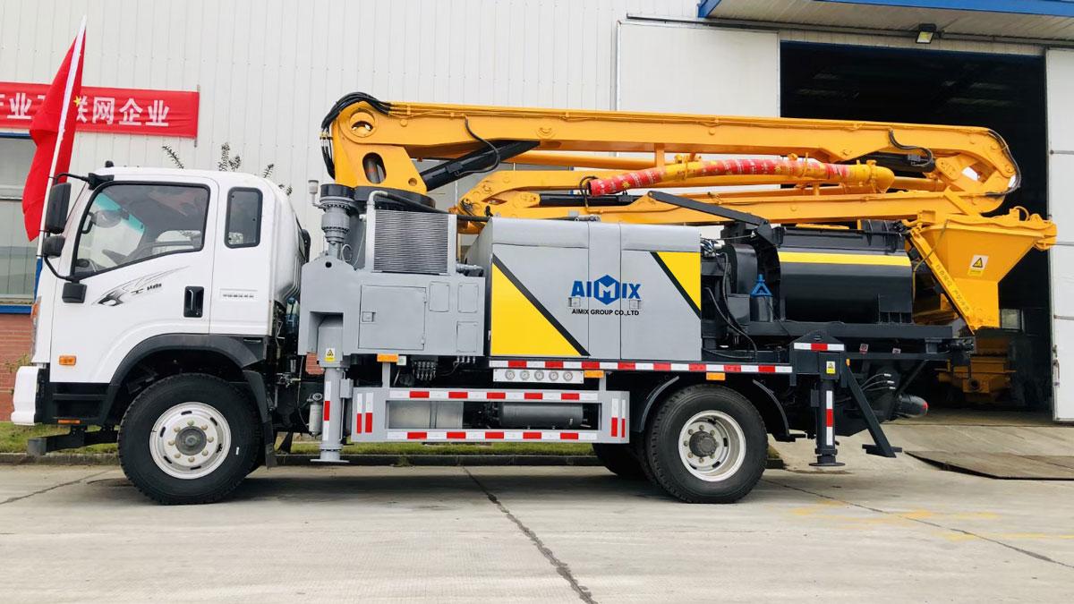 Truck mounted mixer boom pump