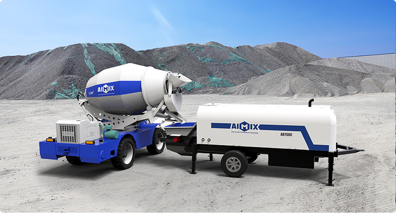 Self-loading Mixer Combined with Trailer Concrete Pump