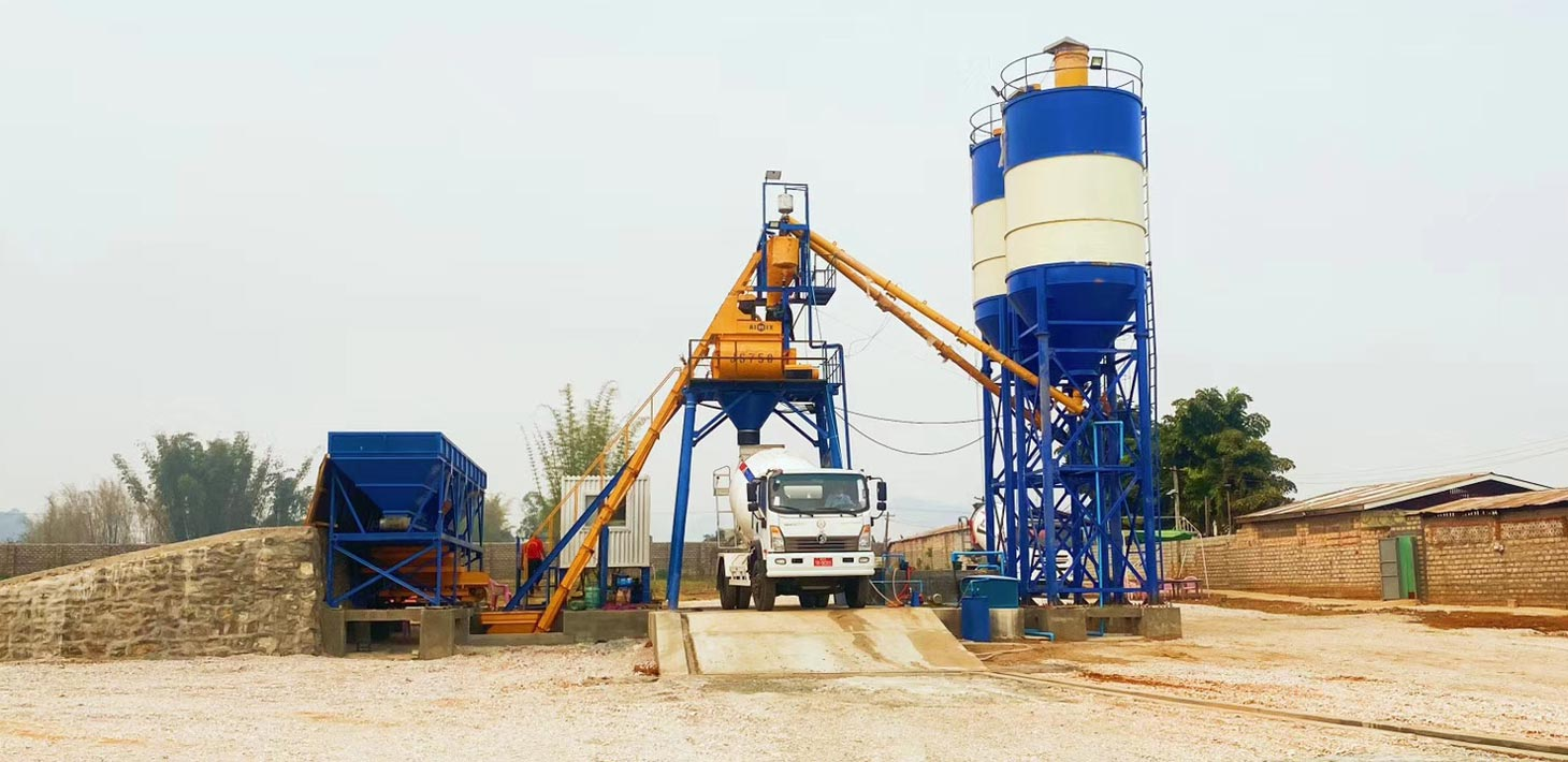 Ready mix concrete batching plant working on the construction site