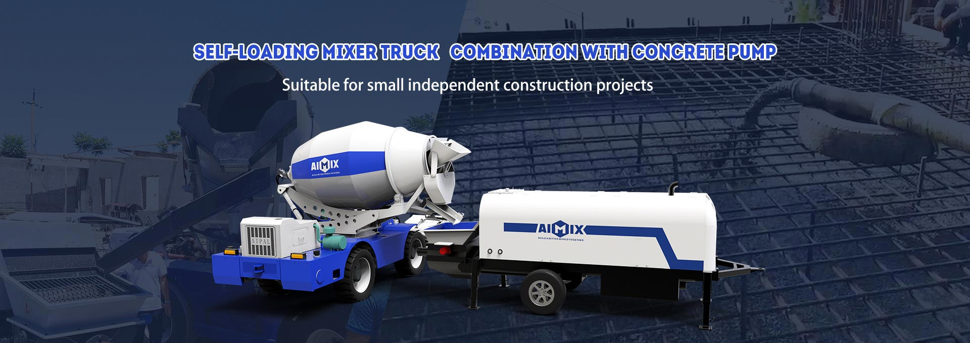 AS Series Self-loading Mixer Truck Combination with Trailer Concrete Pump